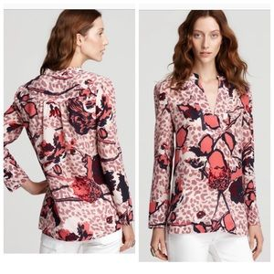 Tory Burch Whitflies Silk Tunic in Red